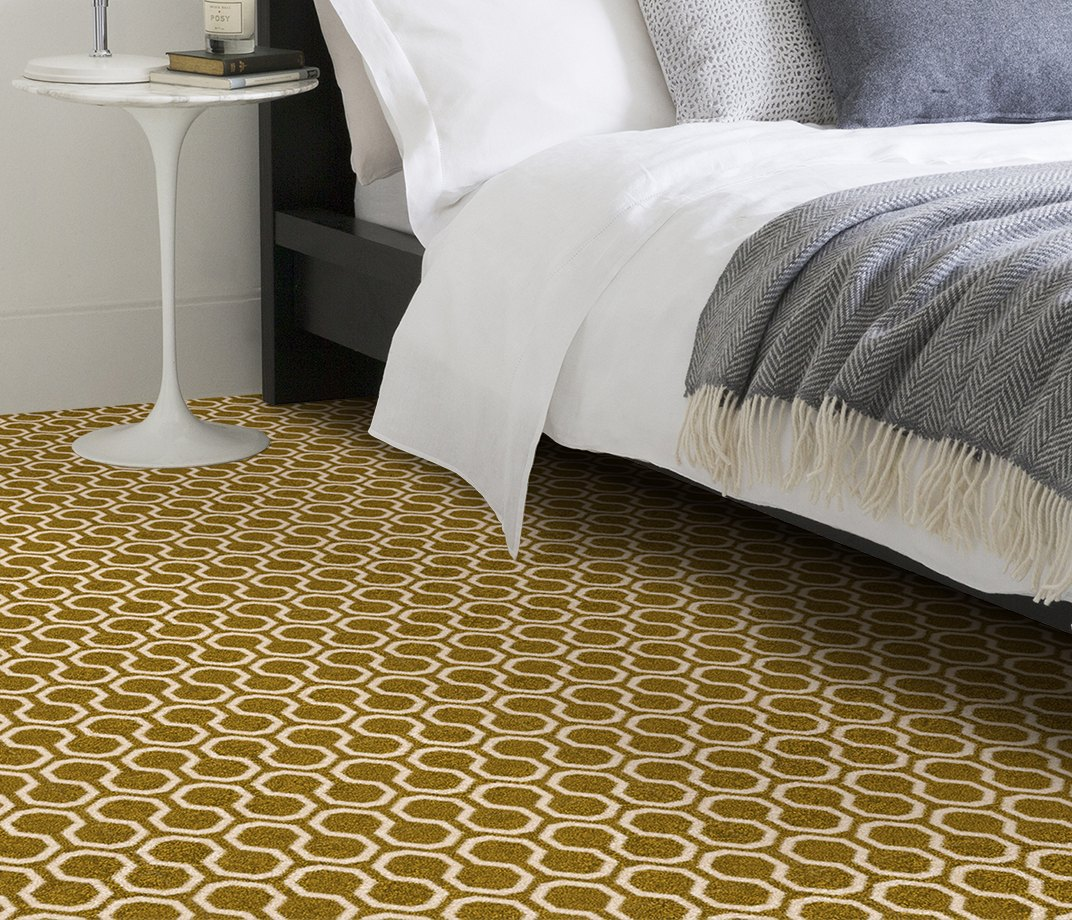 Quirky B Honeycomb Moss Carpet 7112 in Bedroom