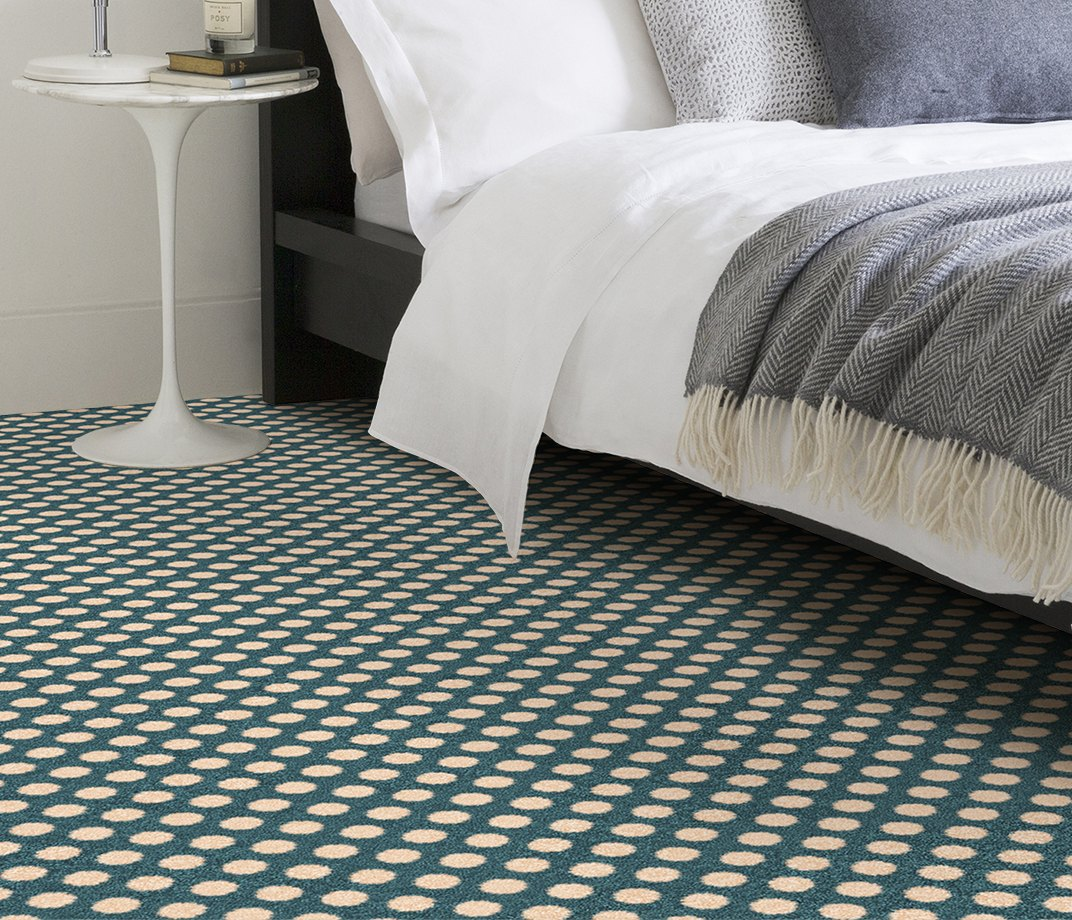 Quirky B Spotty Duck Egg Carpet 7142 in Bedroom