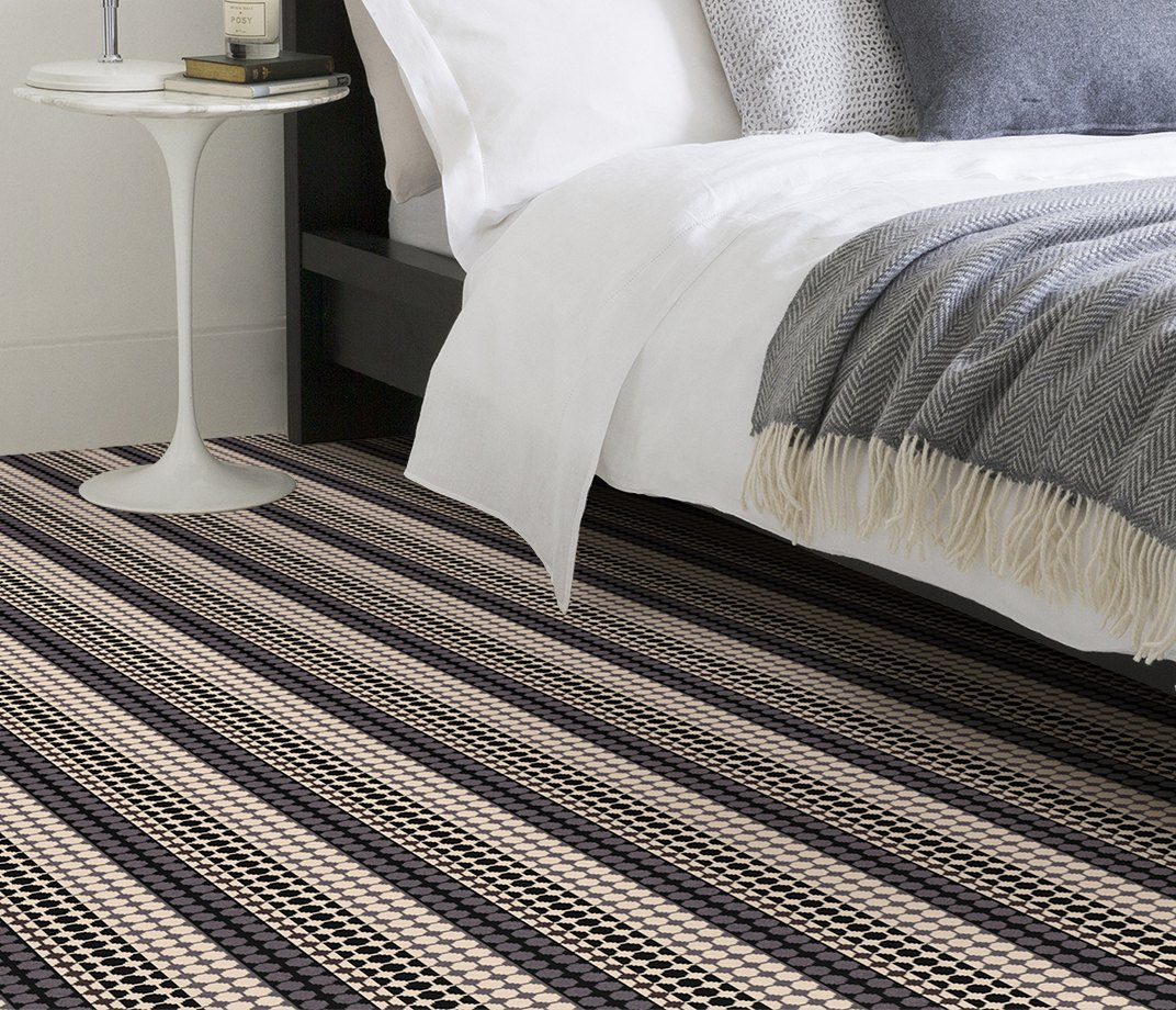 Quirky B Margo Selby Button Black Carpet 7215 in Bedroom
