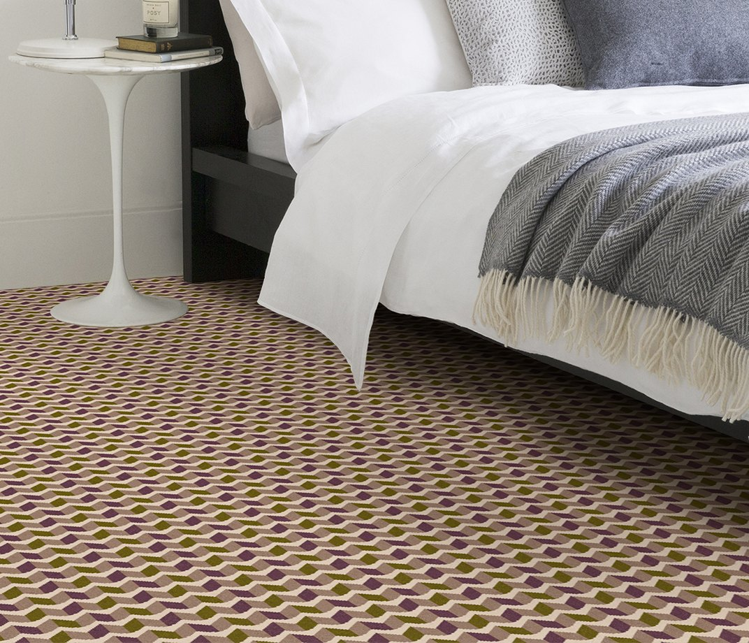 Quirky B Margo Selby Ribbon Magenta Carpet 7217 in Bedroom