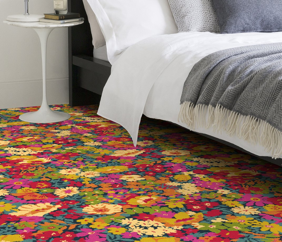 Quirky B Liberty Fabrics Flowers of Thorpe Summer Garden Carpet 7525 in Bedroom