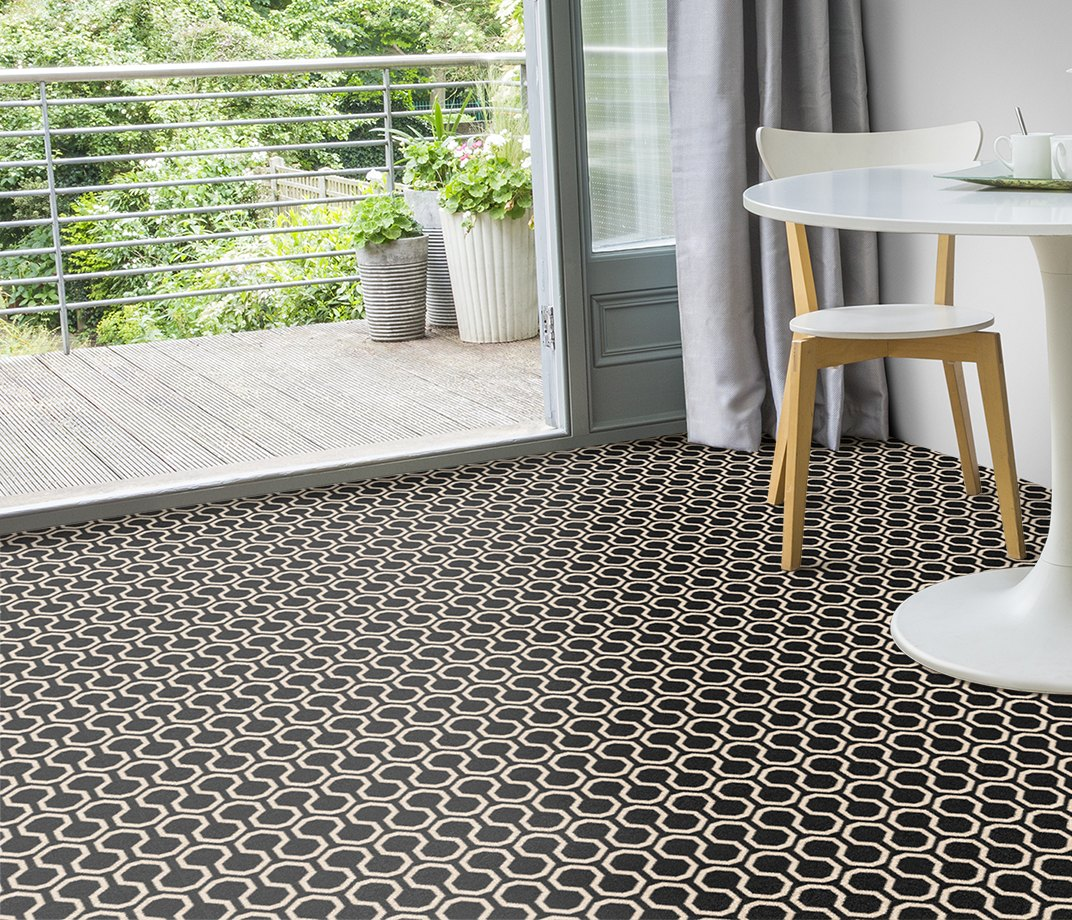 Quirky B Honeycomb Black Carpet 7111 in Living Room
