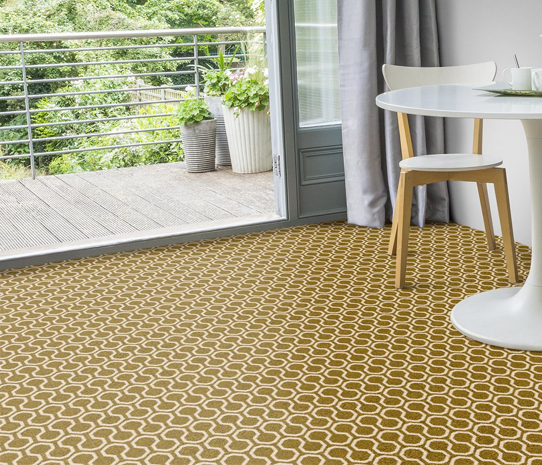 Quirky B Honeycomb Moss Carpet 7112 in Living Room