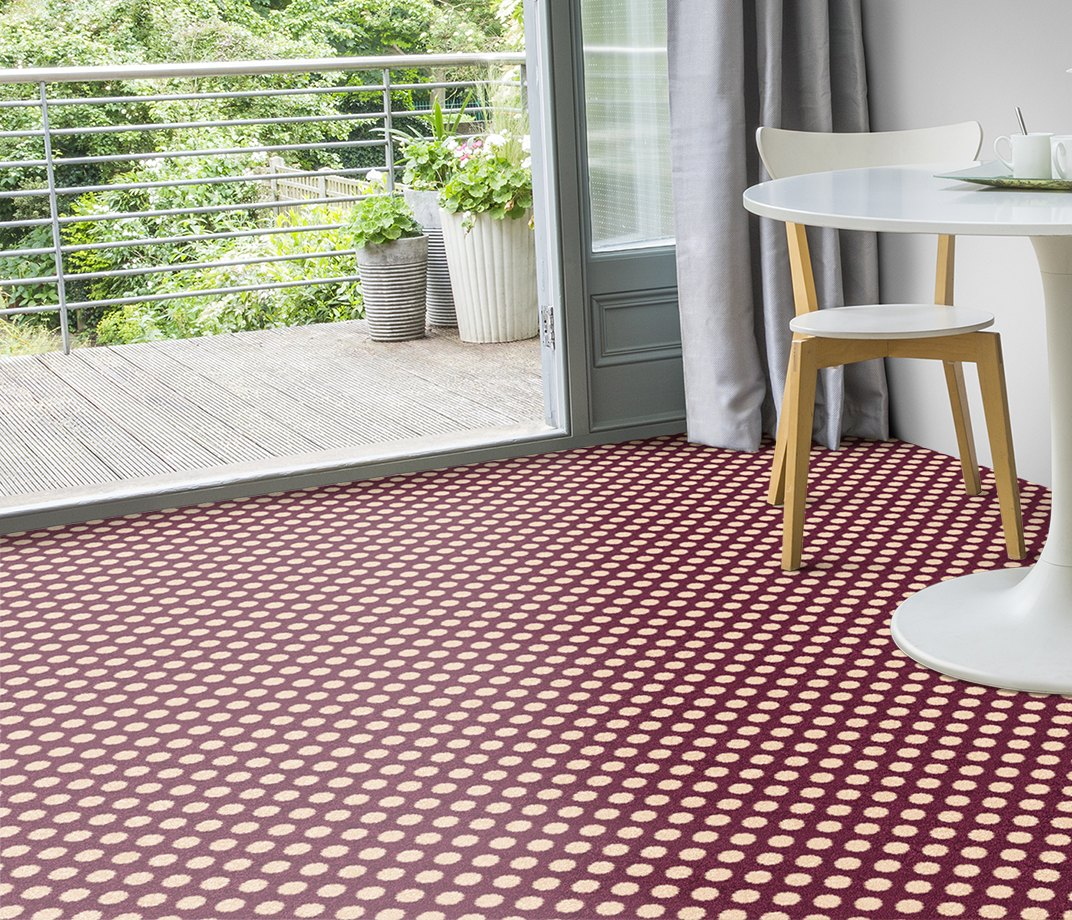 Quirky B Spotty Damson Carpet 7141 in Living Room