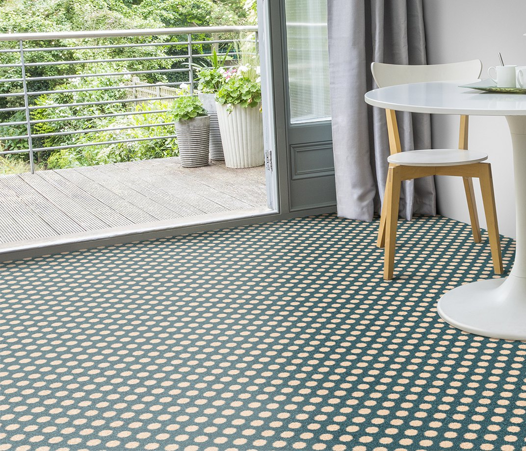 Quirky B Spotty Duck Egg Carpet 7142 in Living Room
