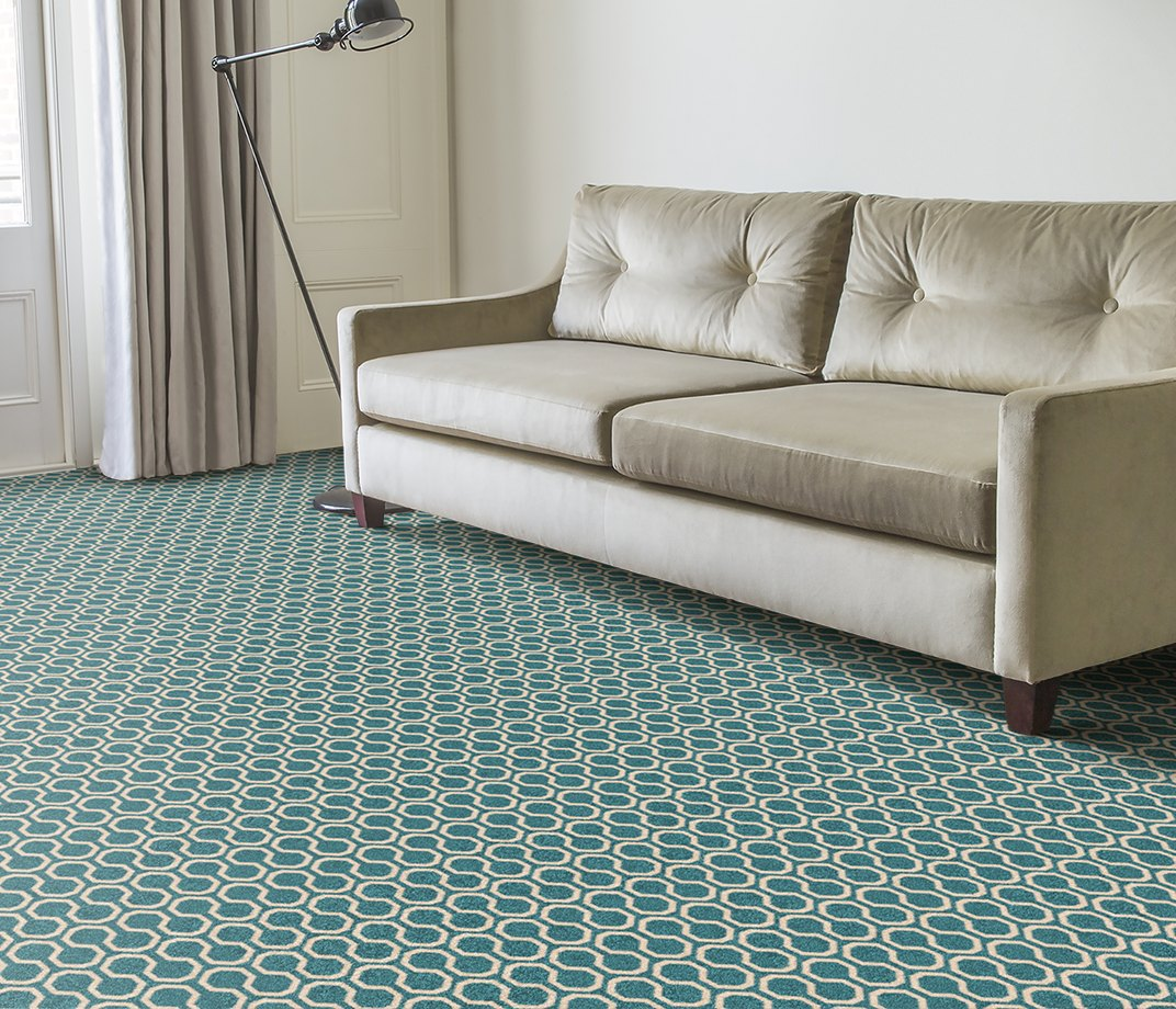 Quirky B Honeycomb Duck Egg Carpet 7110 in Living Room