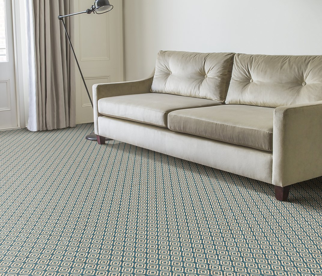 Quirky B Geo Duck Egg Carpet 7130 in Living Room