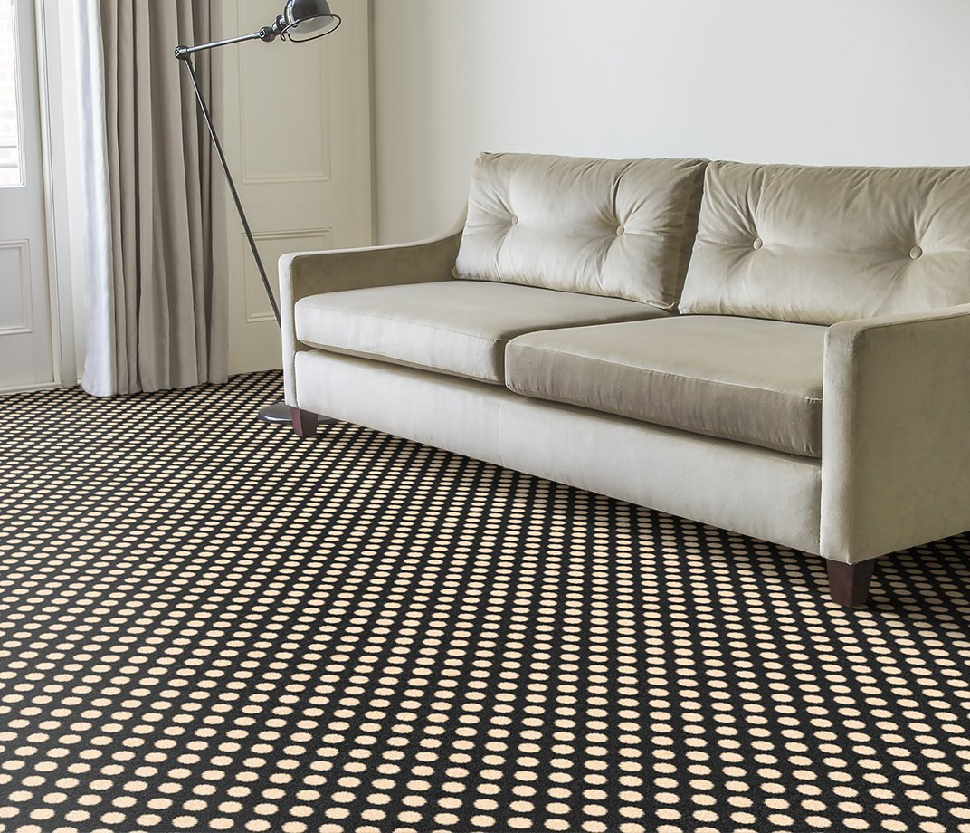 Quirky B Spotty Black Carpet 7140 in Living Room