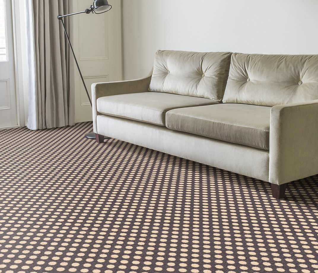 Quirky B Spotty Grey Patterned Carpet 7143 in Living Room
