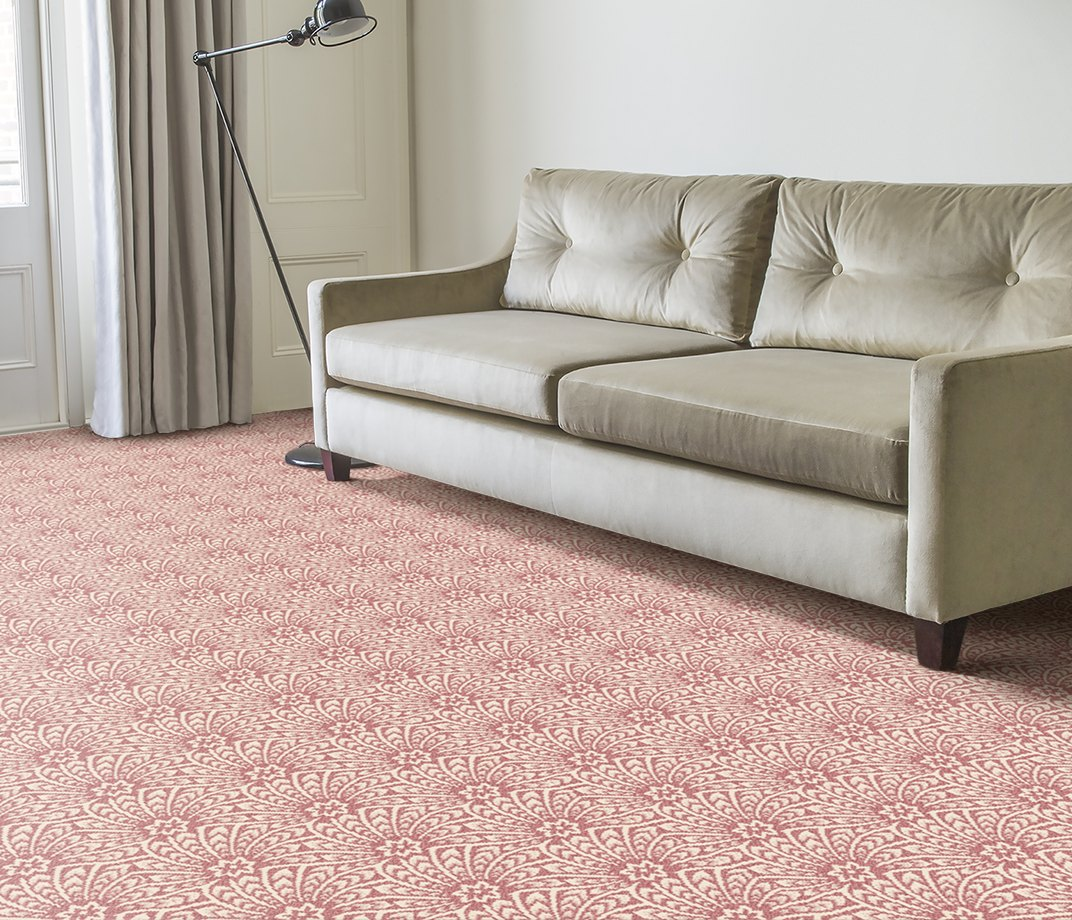 Quirky B Liberty Fabrics Capello Shell Coral Carpet 7502 in Living Room