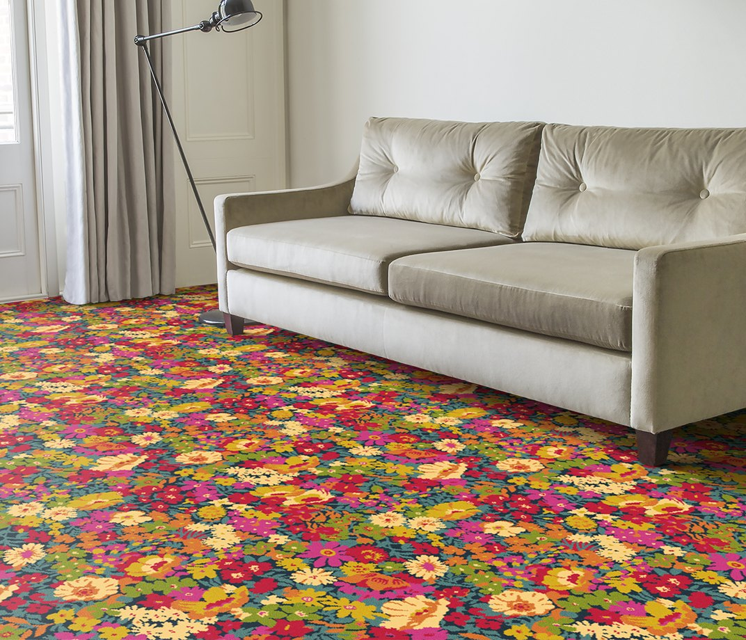 Quirky B Liberty Fabrics Flowers of Thorpe Summer Garden Carpet 7525 in Living Room