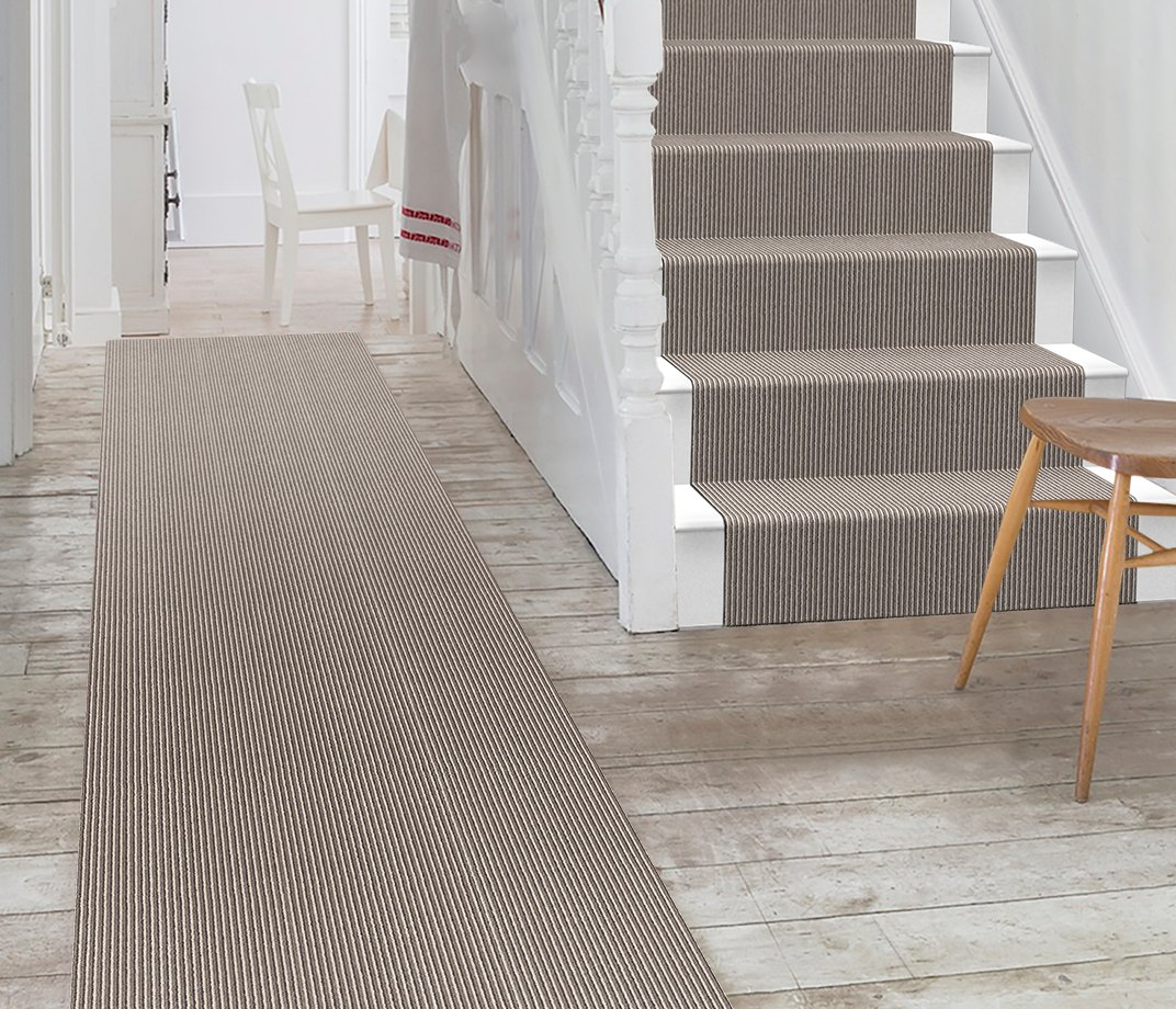 Wool Pinstripe Sable Olive Pin Carpet 1860 Stair Runner
