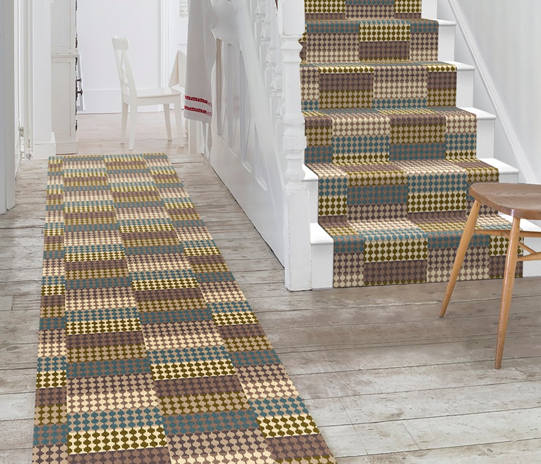 Quirky Patch Strip Blue Runner by Margo Selby 7092 Stair Runner
