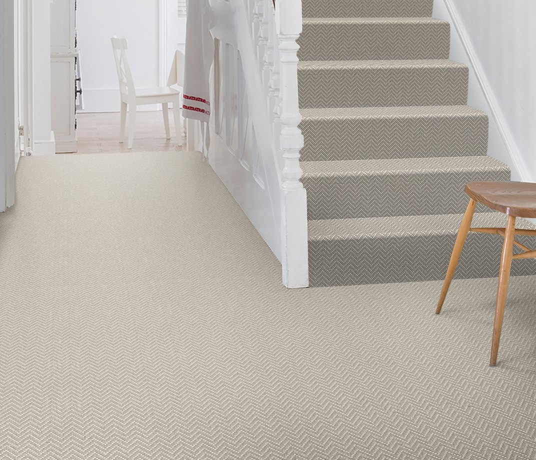 Wool Iconic Chevron Forth Carpet 1536 on Stairs