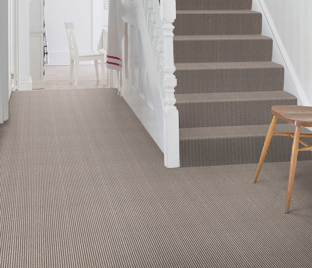 Wool Pinstripe Sable Olive Pin Carpet 1860 on Stairs
