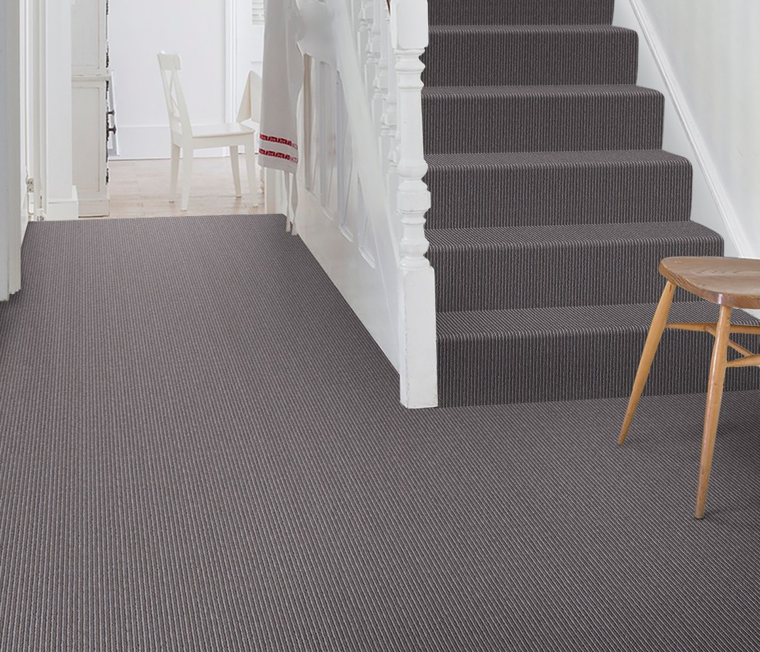 Wool Pinstripe Mineral Sable Pin Carpet 1864 on Stairs