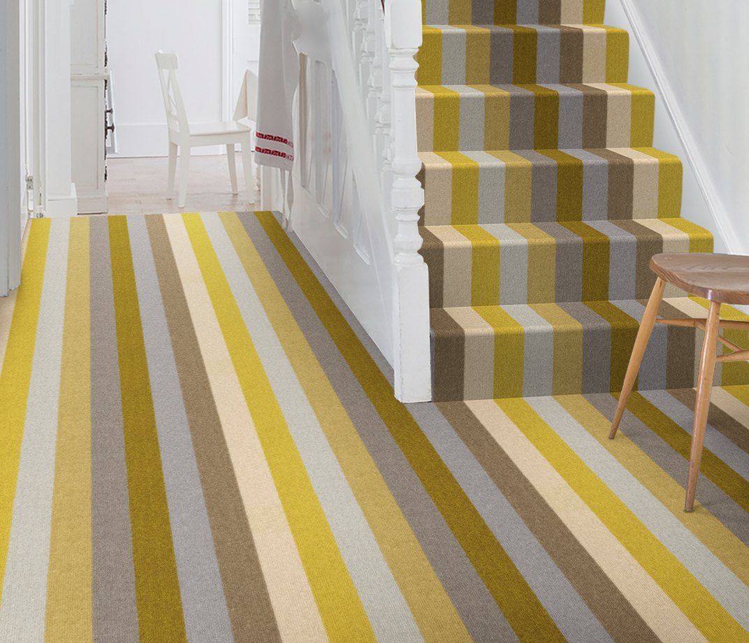 Margo Selby Stripe Sun Whitstable Carpet 1910 on Stairs