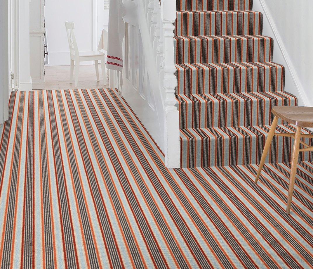 Margo Selby Stripe Frolic Pegwell Carpet 1922 on Stairs