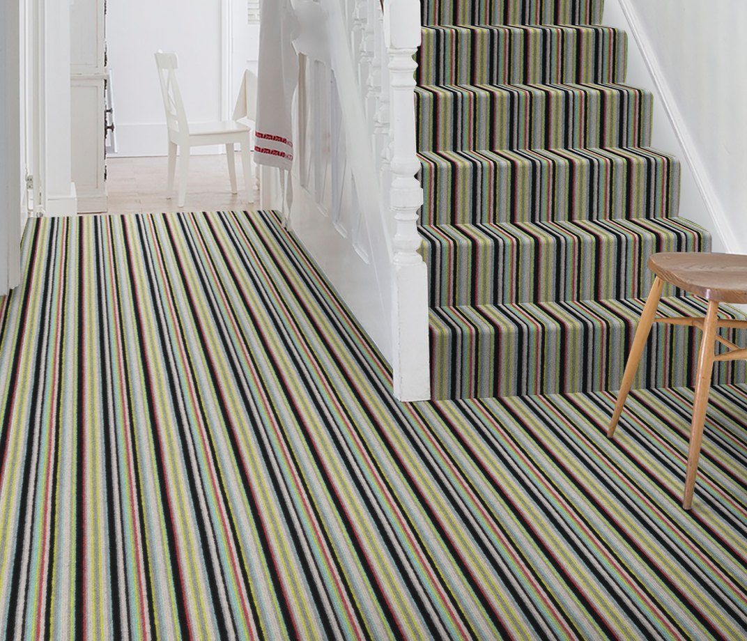 Wool Rock 'n' Roll High Voltage Carpet 1975 on Stairs