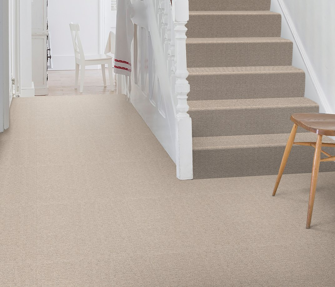 Wool Cord Olive Carpet 5787 on Stairs