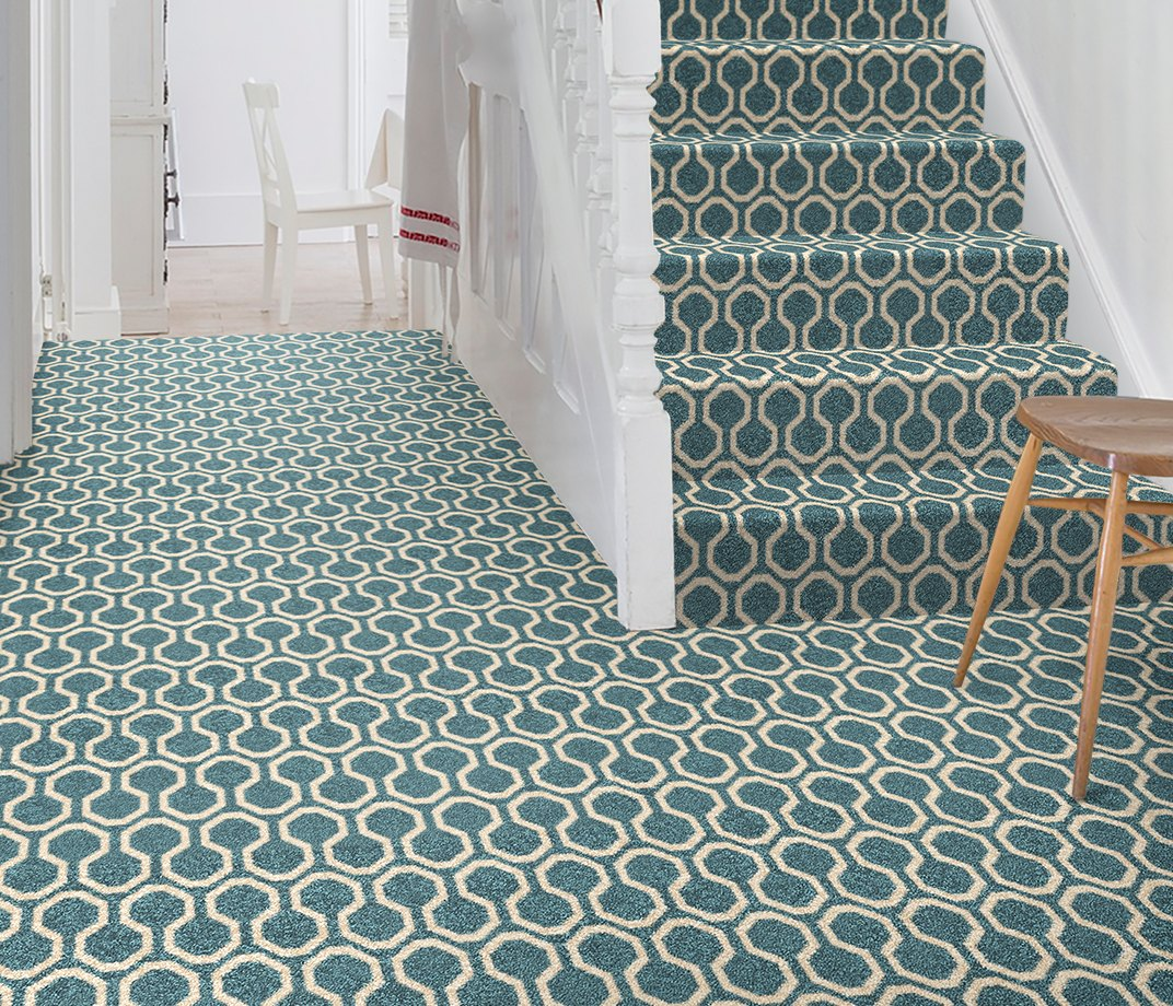 Quirky B Honeycomb Duck Egg Carpet 7110 on Stairs