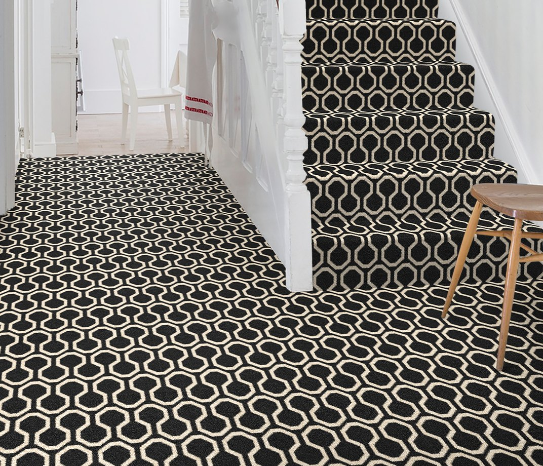 Quirky B Honeycomb Black Carpet 7111 on Stairs