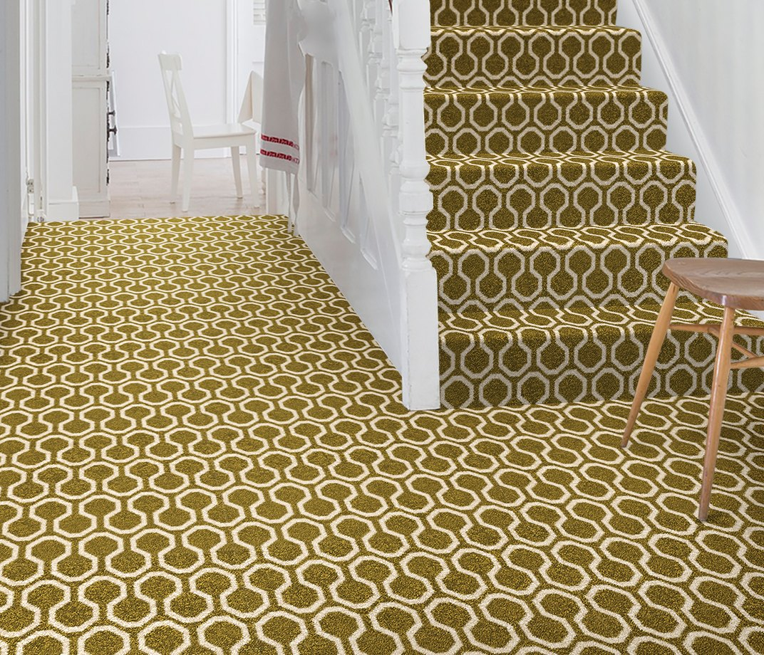 Quirky B Honeycomb Moss Carpet 7112 on Stairs