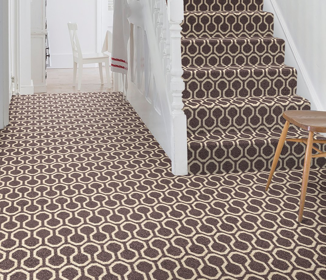 Quirky B Honeycomb Grey Carpet 7113 on Stairs