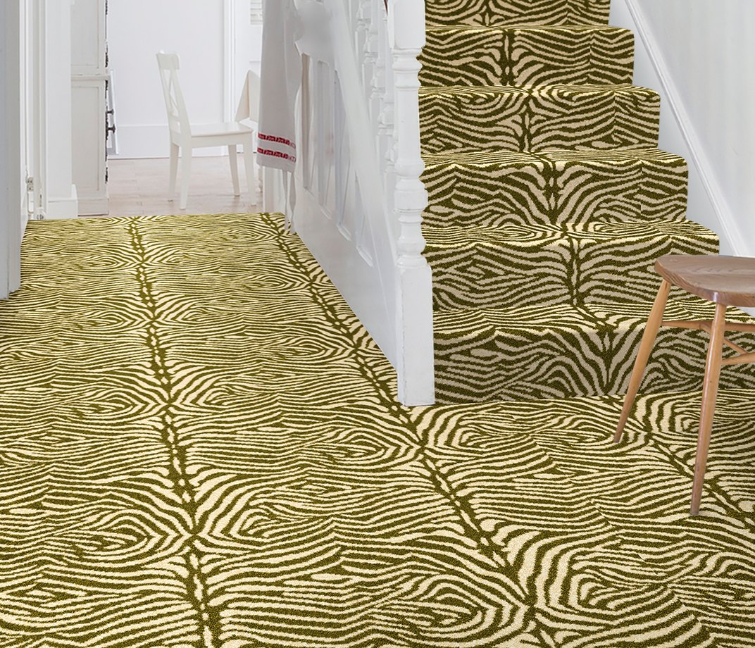 Quirky B Zebo Moss Carpet 7122 on Stairs