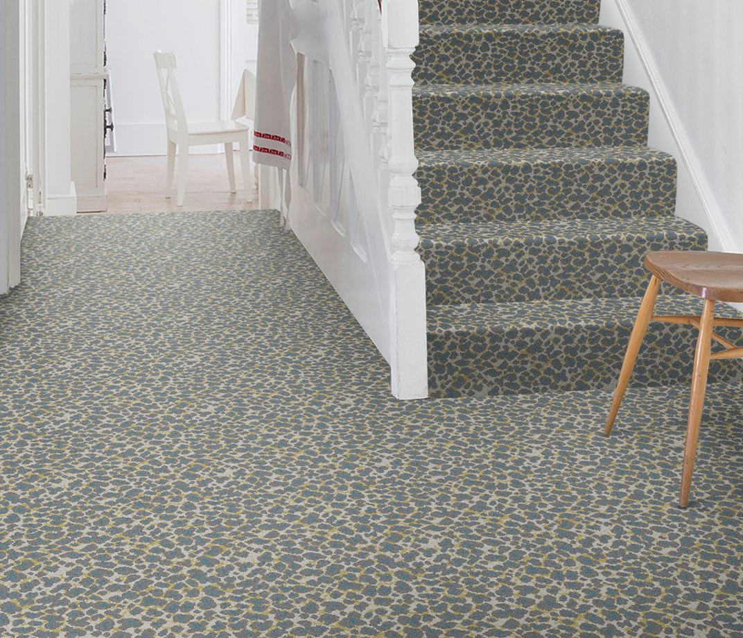 Quirky B Leopard Snow Carpet 7126 on Stairs
