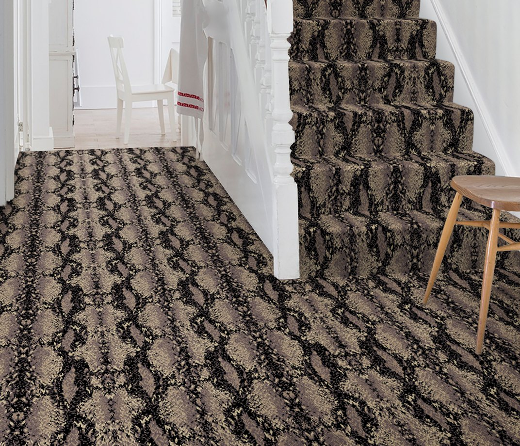 Quirky B Snake Python Carpet 7128 on Stairs