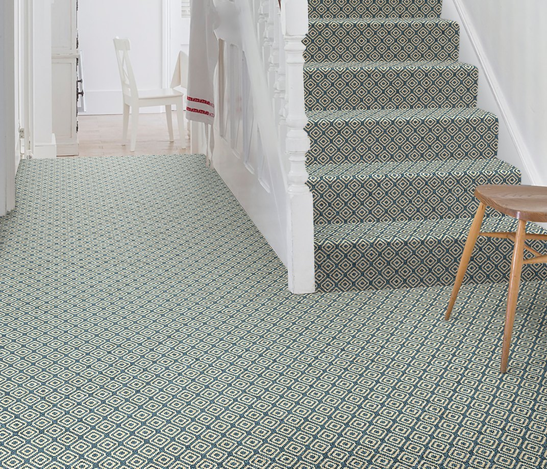 Quirky B Geo Duck Egg Carpet 7130 on Stairs