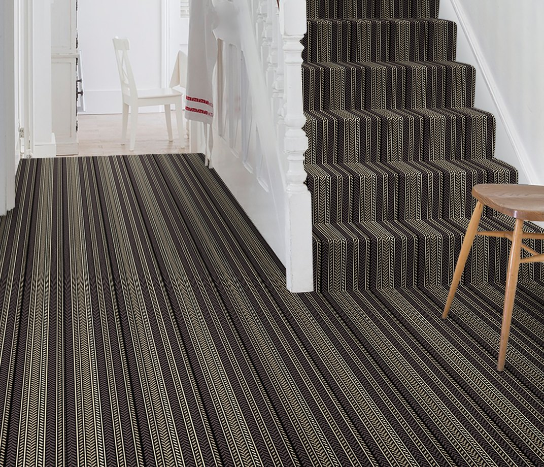 Quirky B Hot Herring Ebony Carpet 7136 on Stairs