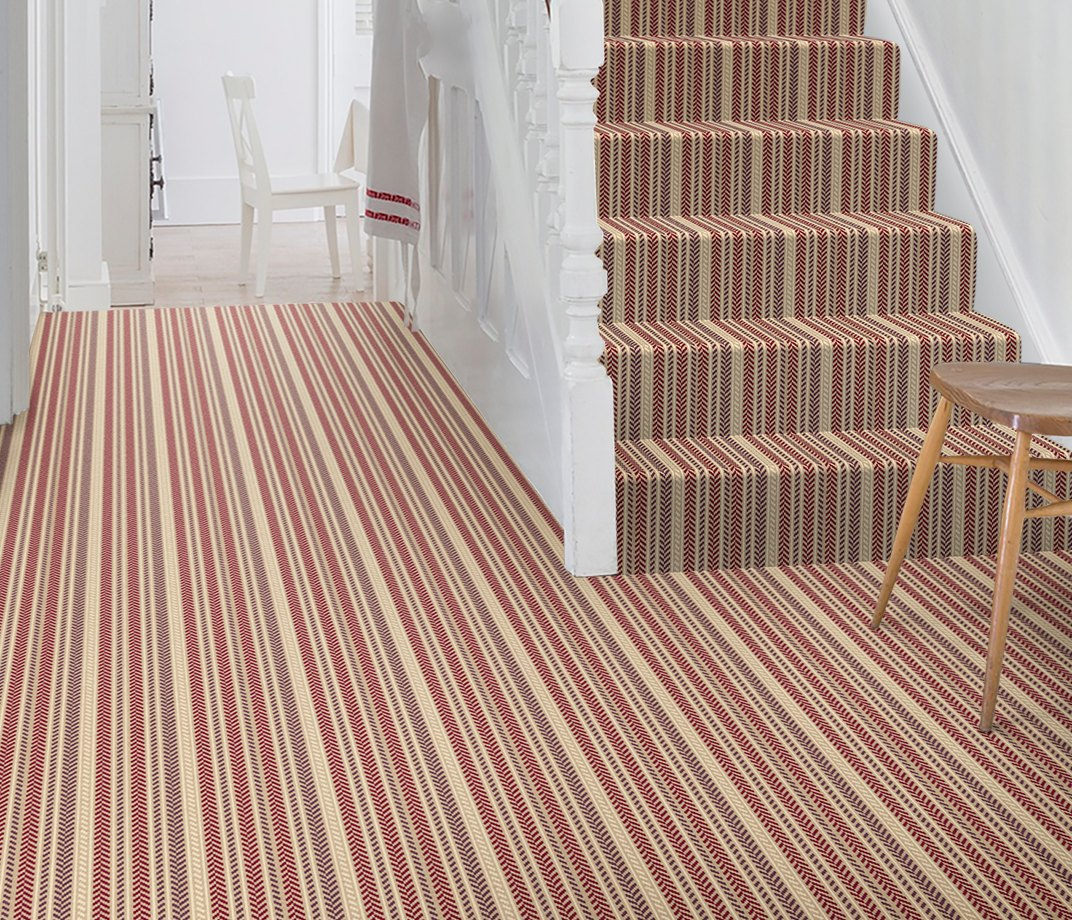 Quirky B Hot Herring Ruby Carpet 7138 on Stairs