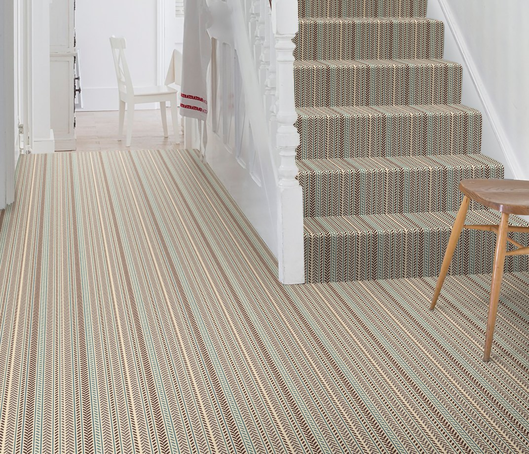 Quirky B Hot Herring Gray Carpet 7139 on Stairs