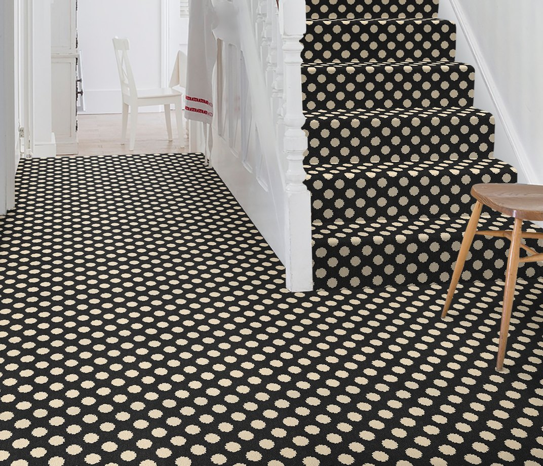 Quirky B Spotty Black Carpet 7140 on Stairs
