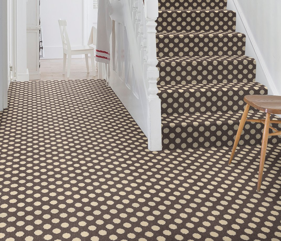 Quirky B Spotty Grey Patterned Carpet 7143 on Stairs