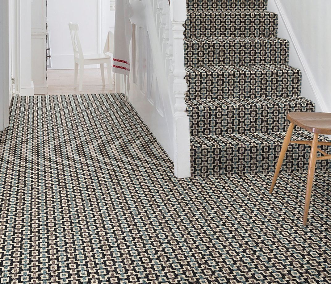 Quirky B Margo Selby Shuttle Silas Carpet 7201 on Stairs