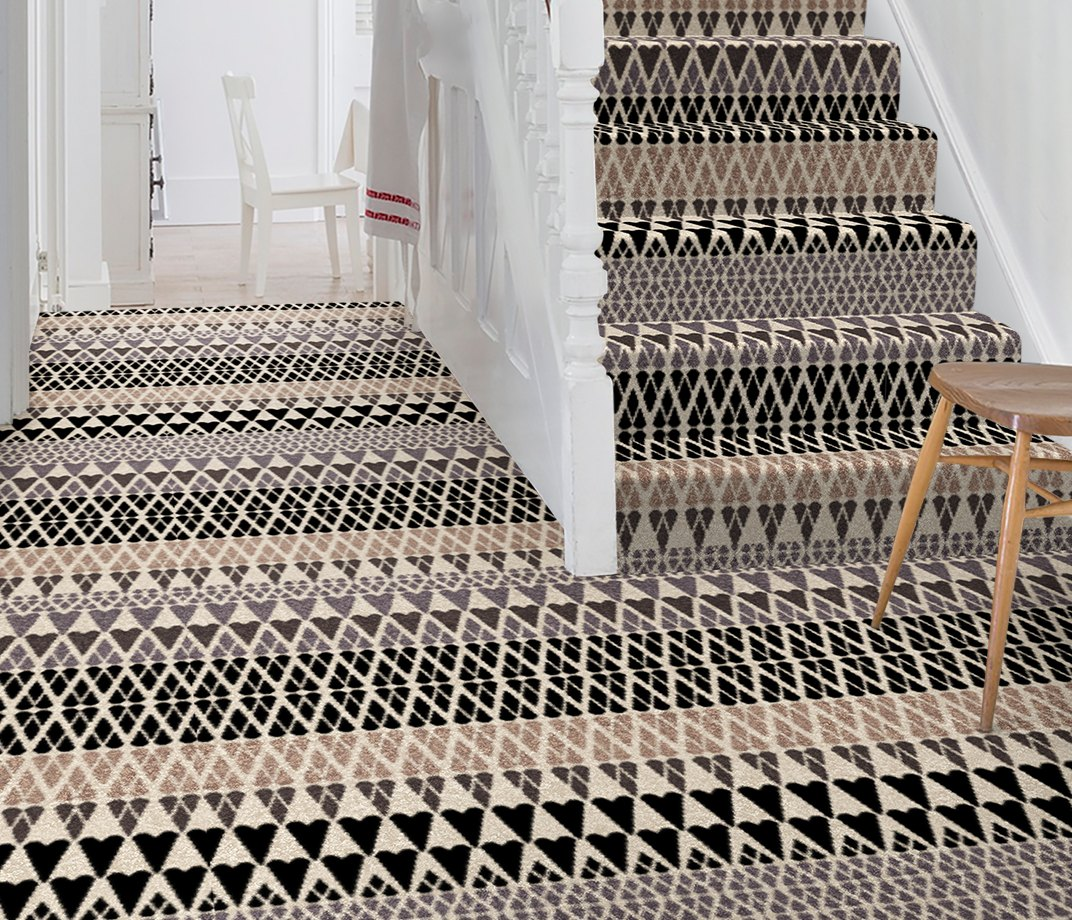 Quirky B Margo Selby Fair Isle Sutton Carpet 7211 on Stairs