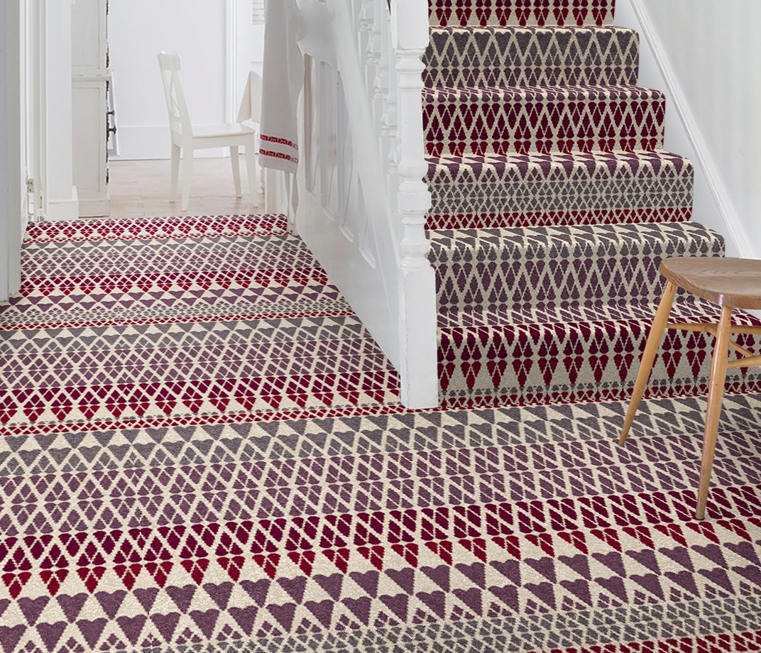 Quirky B Margo Selby Fair Isle Reiko Carpet 7212 on Stairs