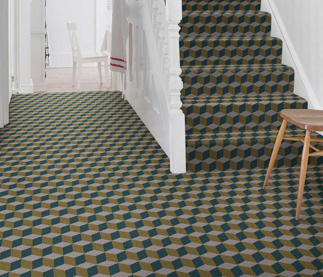 Quirky B Ben Pentreath Cube Soane Carpet 7244 on Stairs