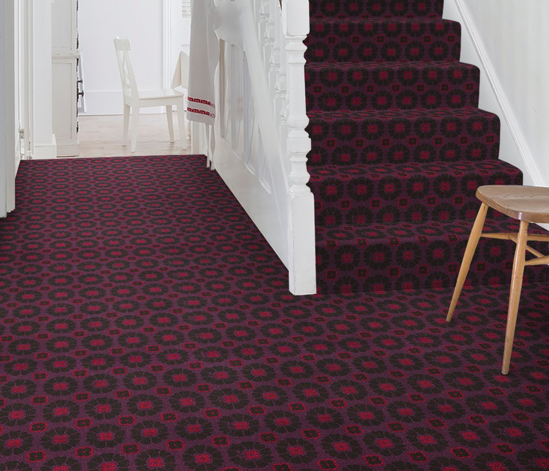 Quirky B Ashley Hicks Daisy Cosmos Carpet 7262 on Stairs