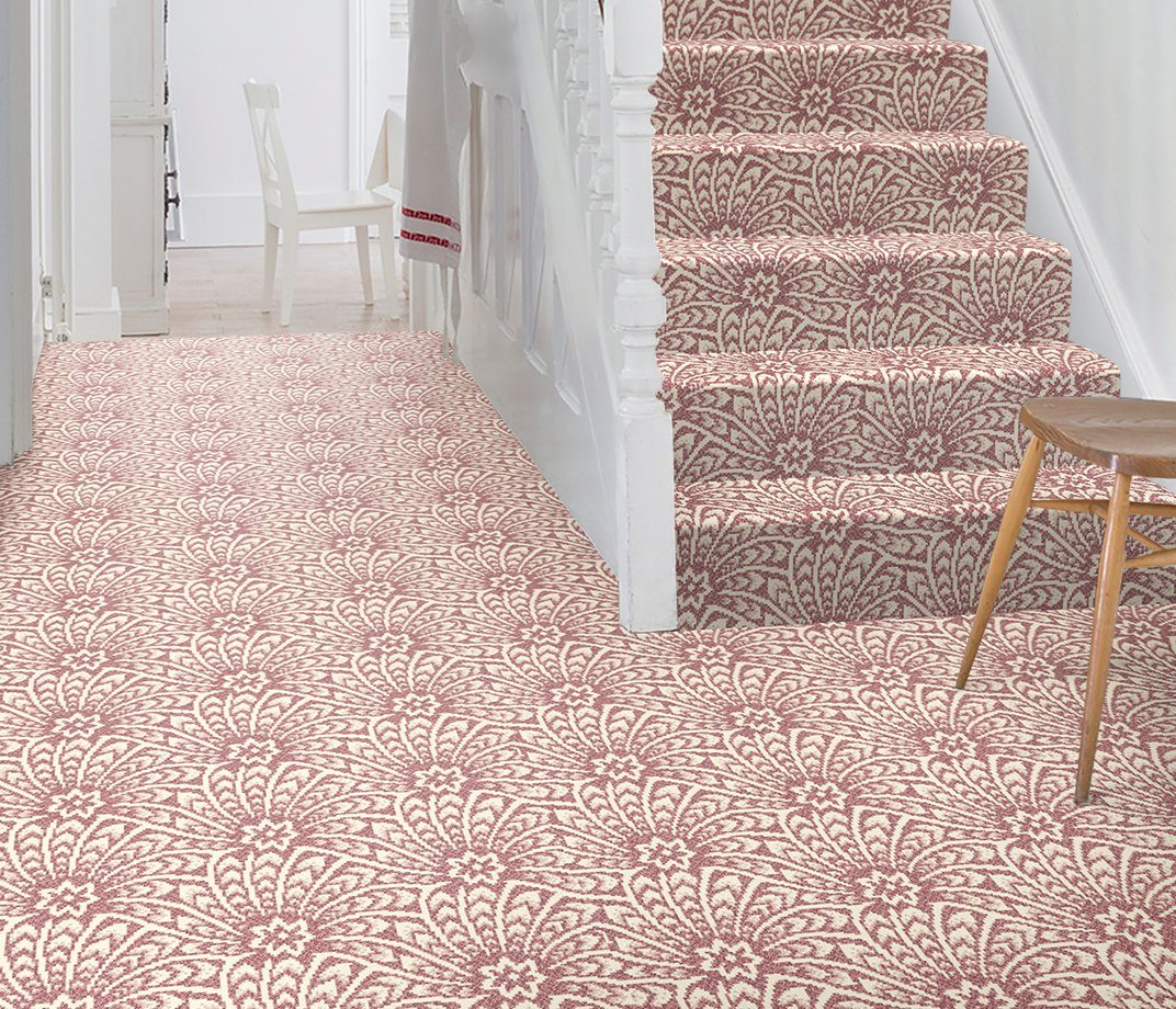 Quirky B Liberty Fabrics Capello Shell Coral Carpet 7502 on Stairs