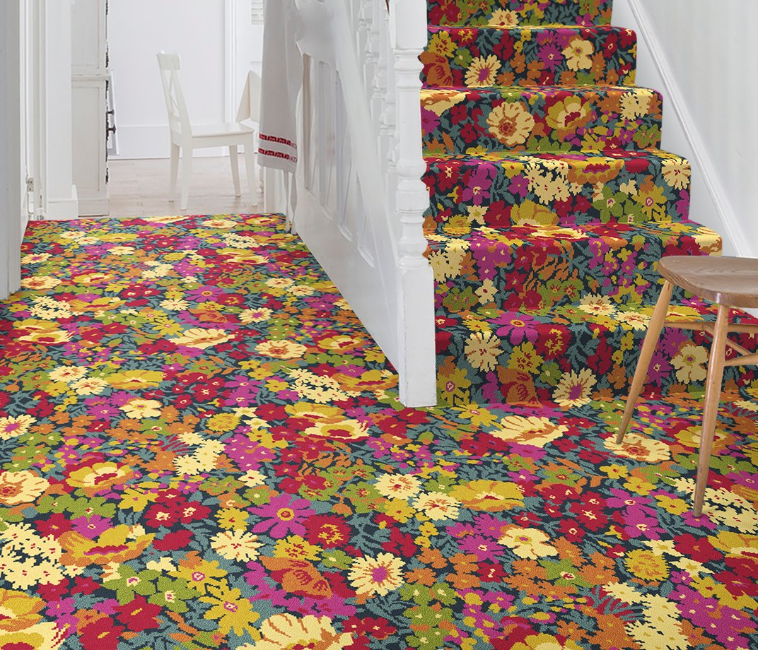 Quirky B Liberty Fabrics Flowers of Thorpe Summer Garden Carpet 7525 on Stairs