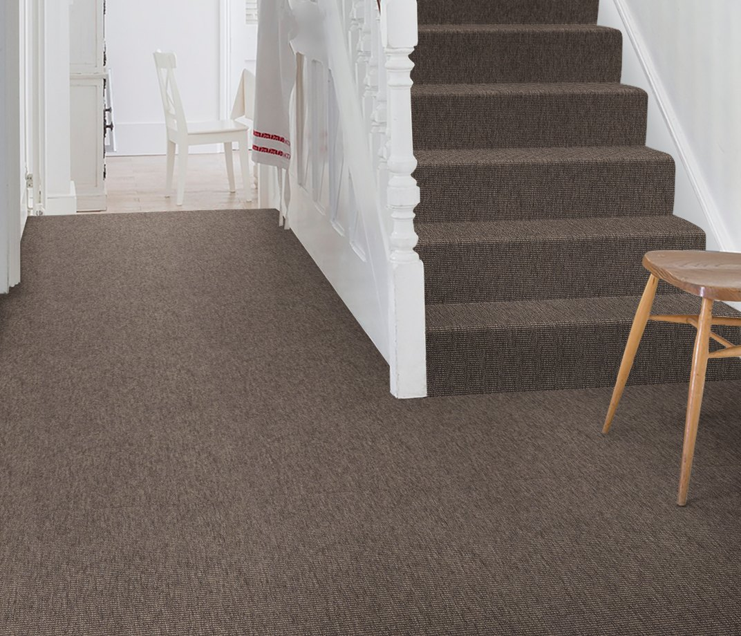 Anywhere Bouclé Cocoa Carpet 8002 on Stairs