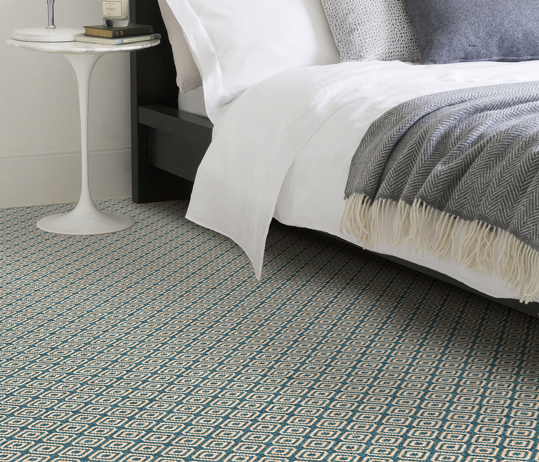 Quirky B Geo Duck Egg Carpet 7130 in Bedroom thumb