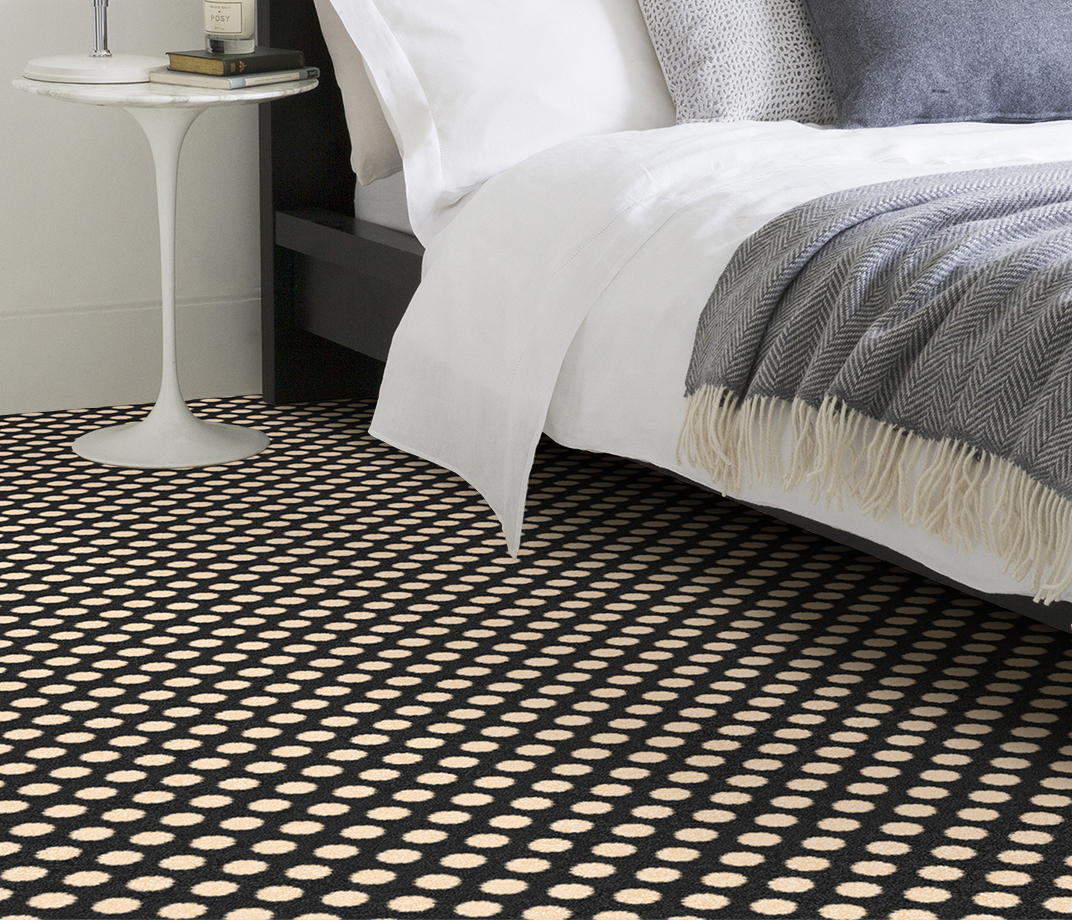 Quirky B Spotty Black Carpet 7140 in Bedroom thumb