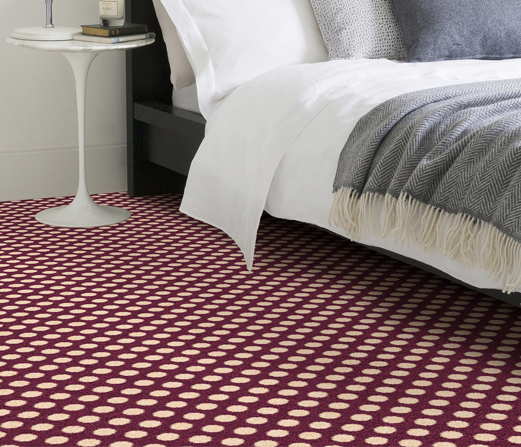 Quirky B Spotty Damson Carpet 7141 in Bedroom thumb