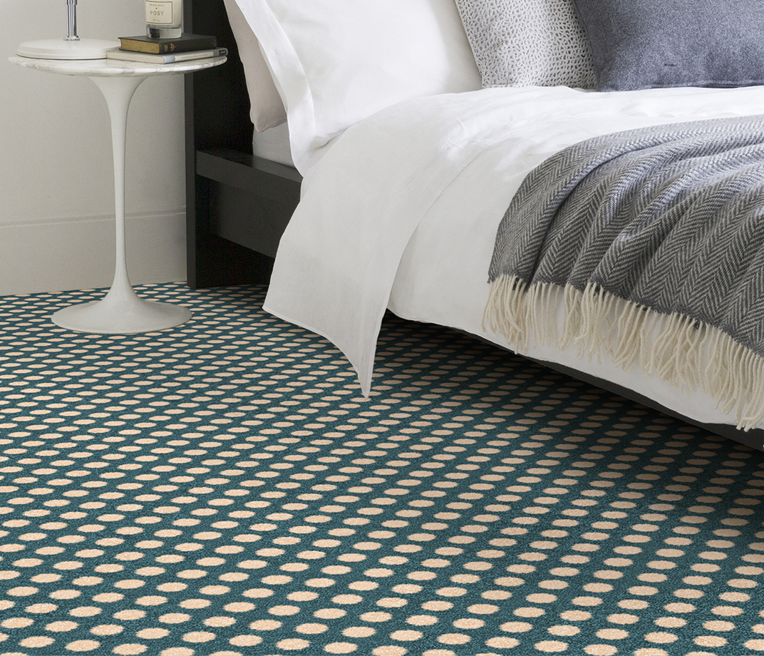 Quirky B Spotty Duck Egg Carpet 7142 in Bedroom thumb