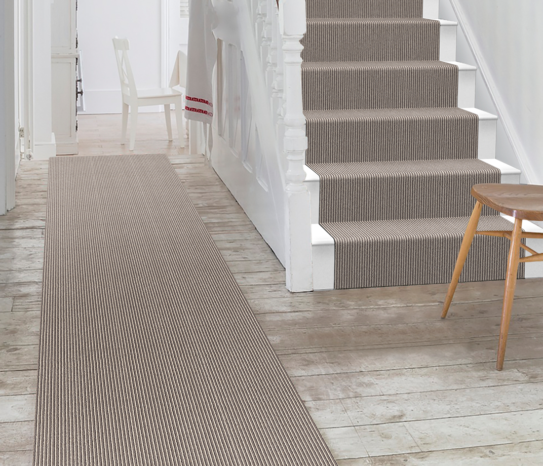 Wool Pinstripe Sable Olive Pin Carpet 1860 Stair Runner thumb